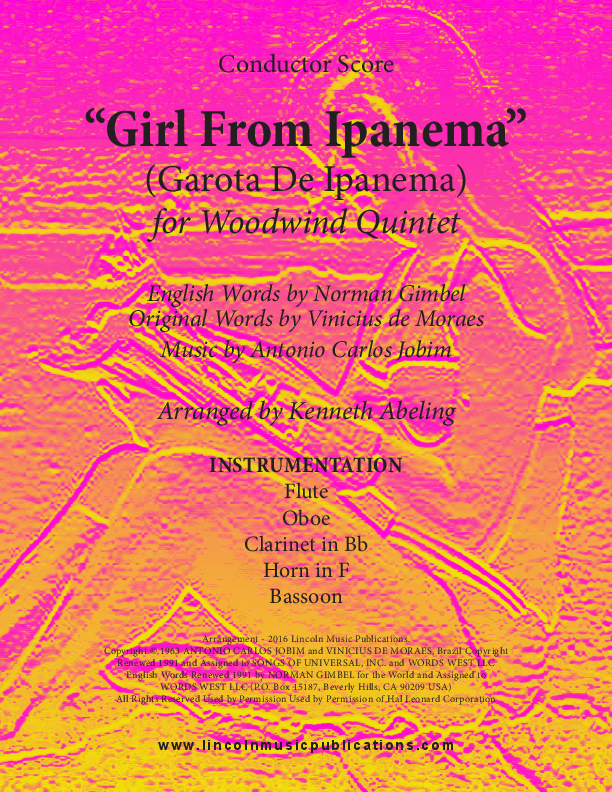 Jazz - The Girl From Ipanema (for Woodwind Quintet) Sheet music by ...