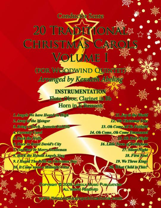 Traditional Christmas Music.20 Traditional Christmas Carols Volume I For Woodwind Quintet
