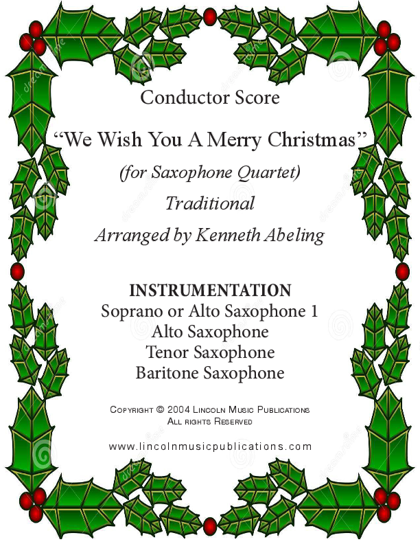We Wish You a Merry Christmas (for Saxophone Quartet SATB or AATB ...